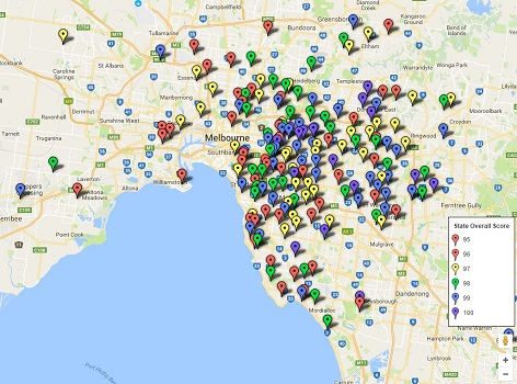 Feature Map of Melbourne / Victoria's Top Primary School Ratings