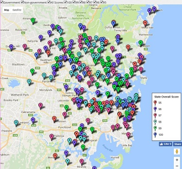 Feature Map of Sydney / NSW's Top Primary School Ratings