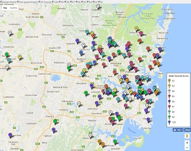 Map - Sydney Top High School Ratings together with HSC results and rankings