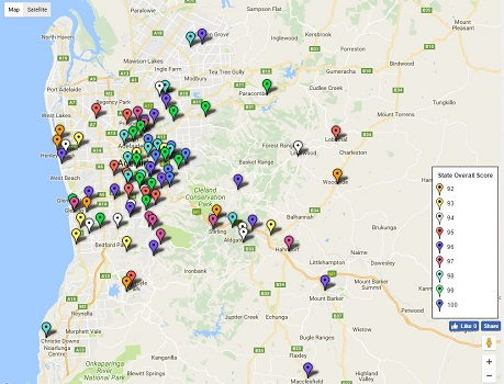 Feature Map - SA / Adelaide Top Primary School Ratings