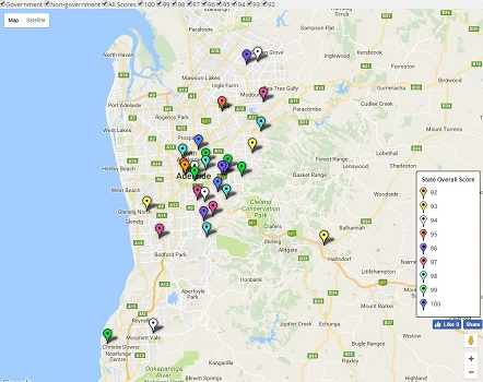 Feature Map of SA / Adelaide's Top Secondary School Ratings - 2017
