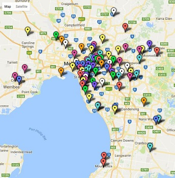 Map - Melbourne Top Secondary School Ratings together with VCE results and rankings