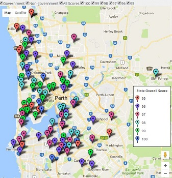 Feature Map of Perth / WA's Top Primary School Ratings