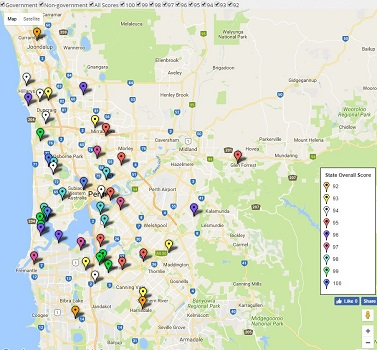 Map - Perth / WA Top High School Ratings together with ATAR results and rankings