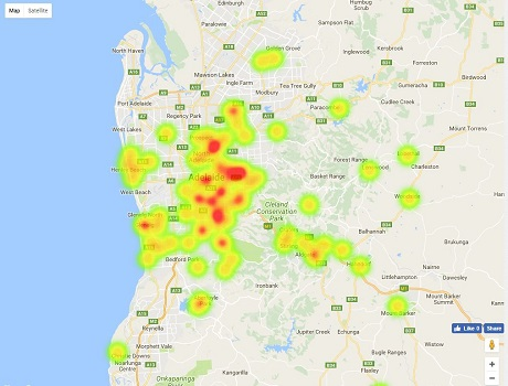 Heatmap - SA / Adelaide Top Primary School Ratings