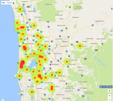 Heatmap - WA / Perth Top Secondary School Ratings